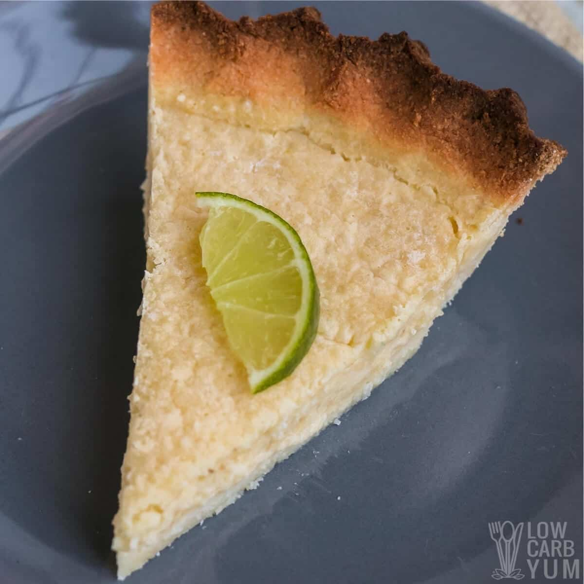 closeup of coconut key lime pie slice