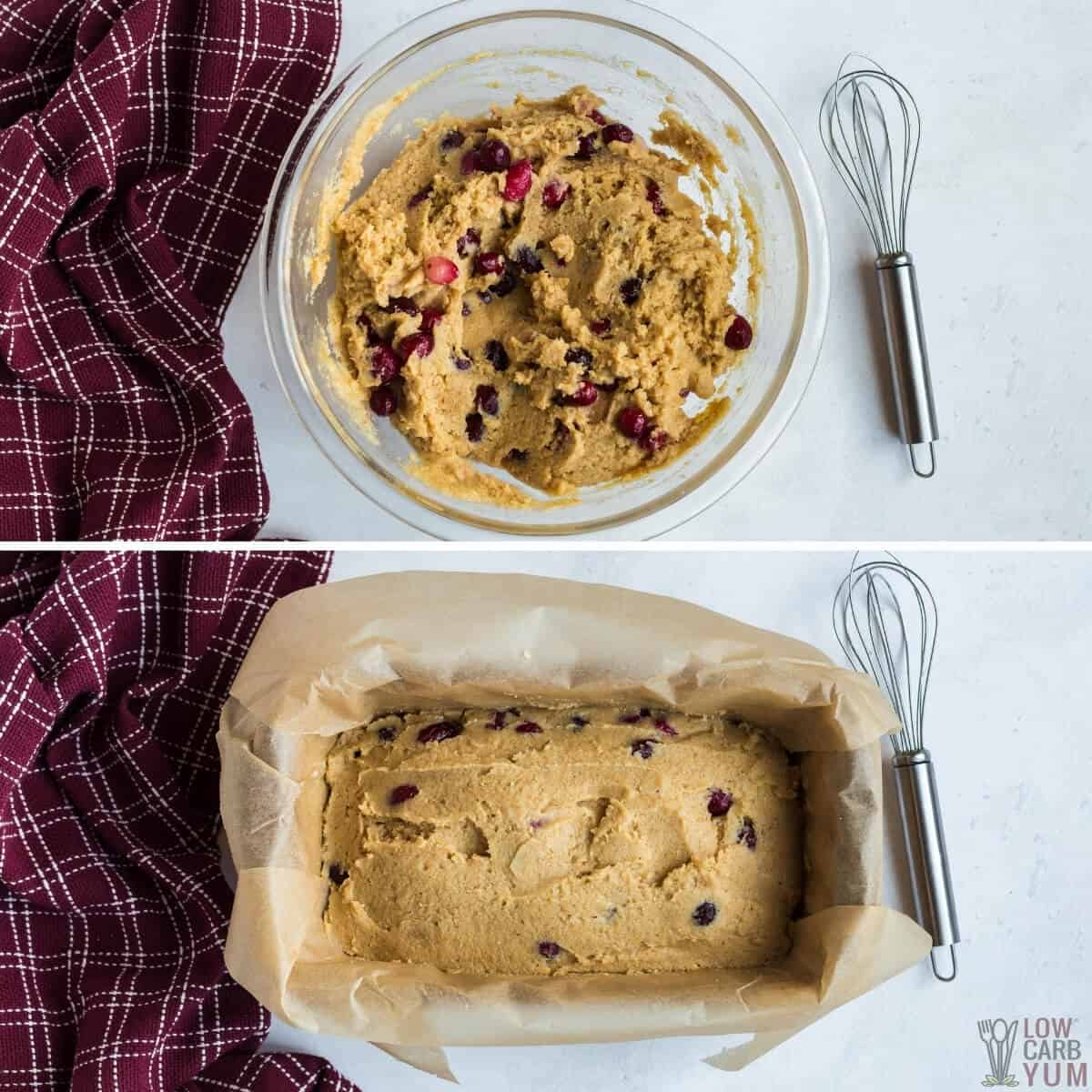 cranberry bread batter in bowl and lined loaf pan