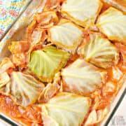 keto cabbage rolls in casserole pan
