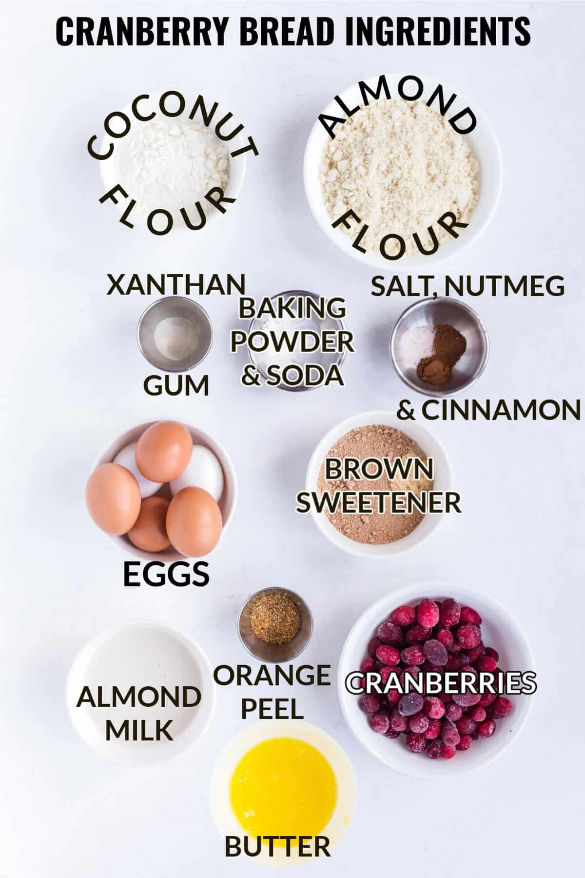 ingredients for cranberry bread