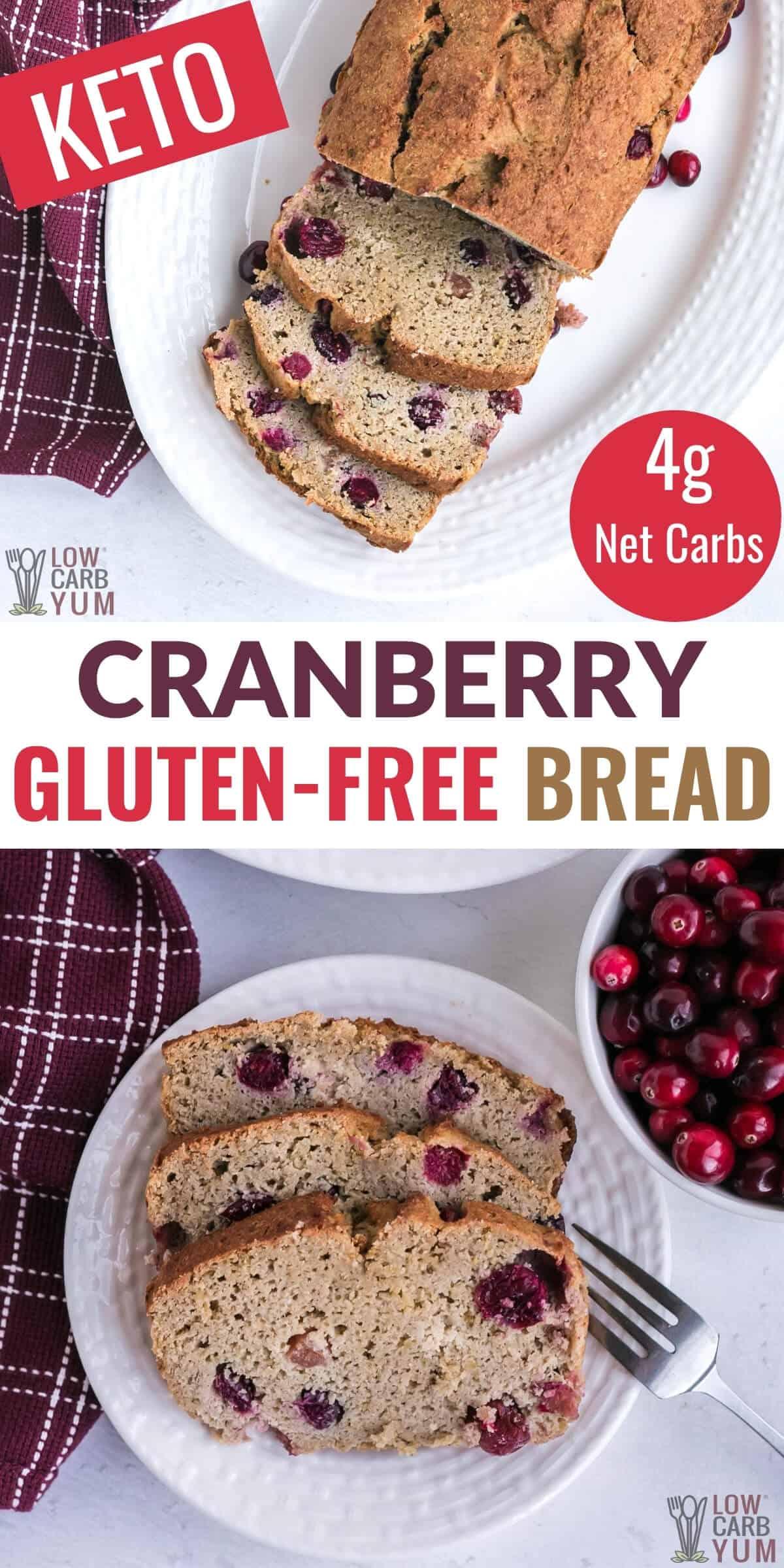 keto cranberry gluten-free bread pinterest image