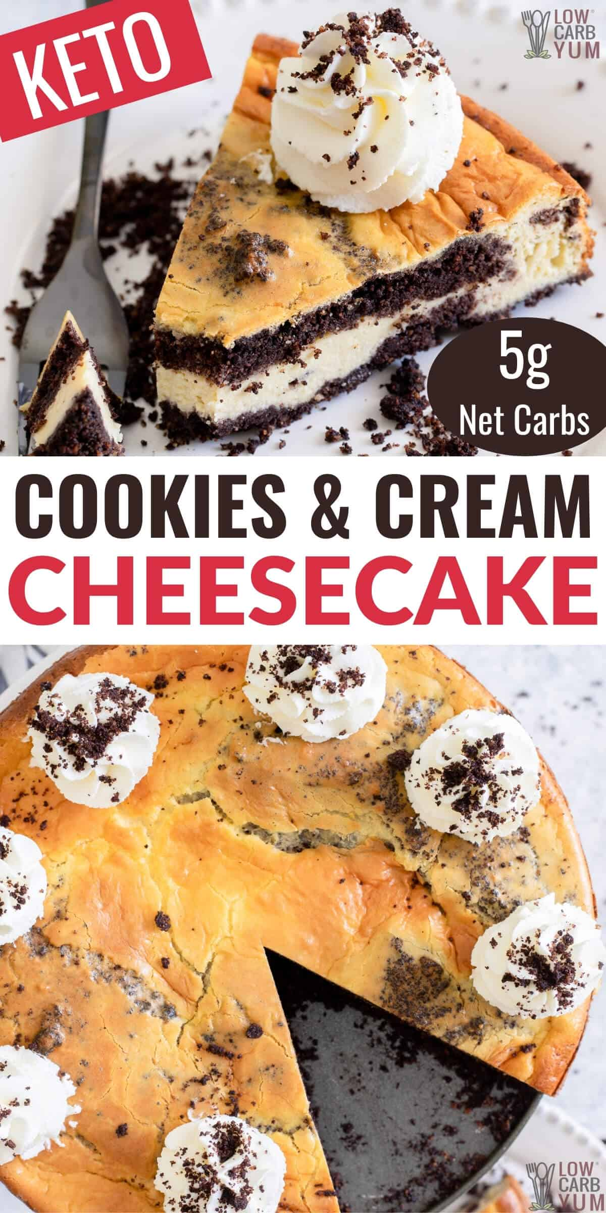 keto oreo cookies n cream cheesecake pinterest image