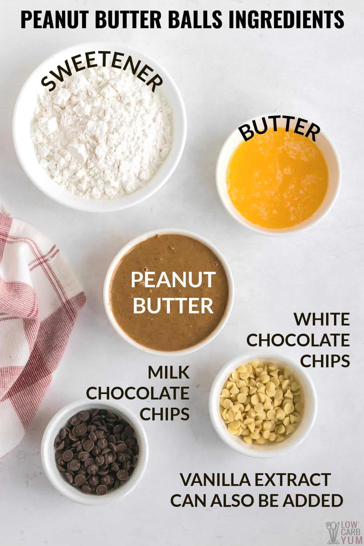ingredients to make peanut butter balls
