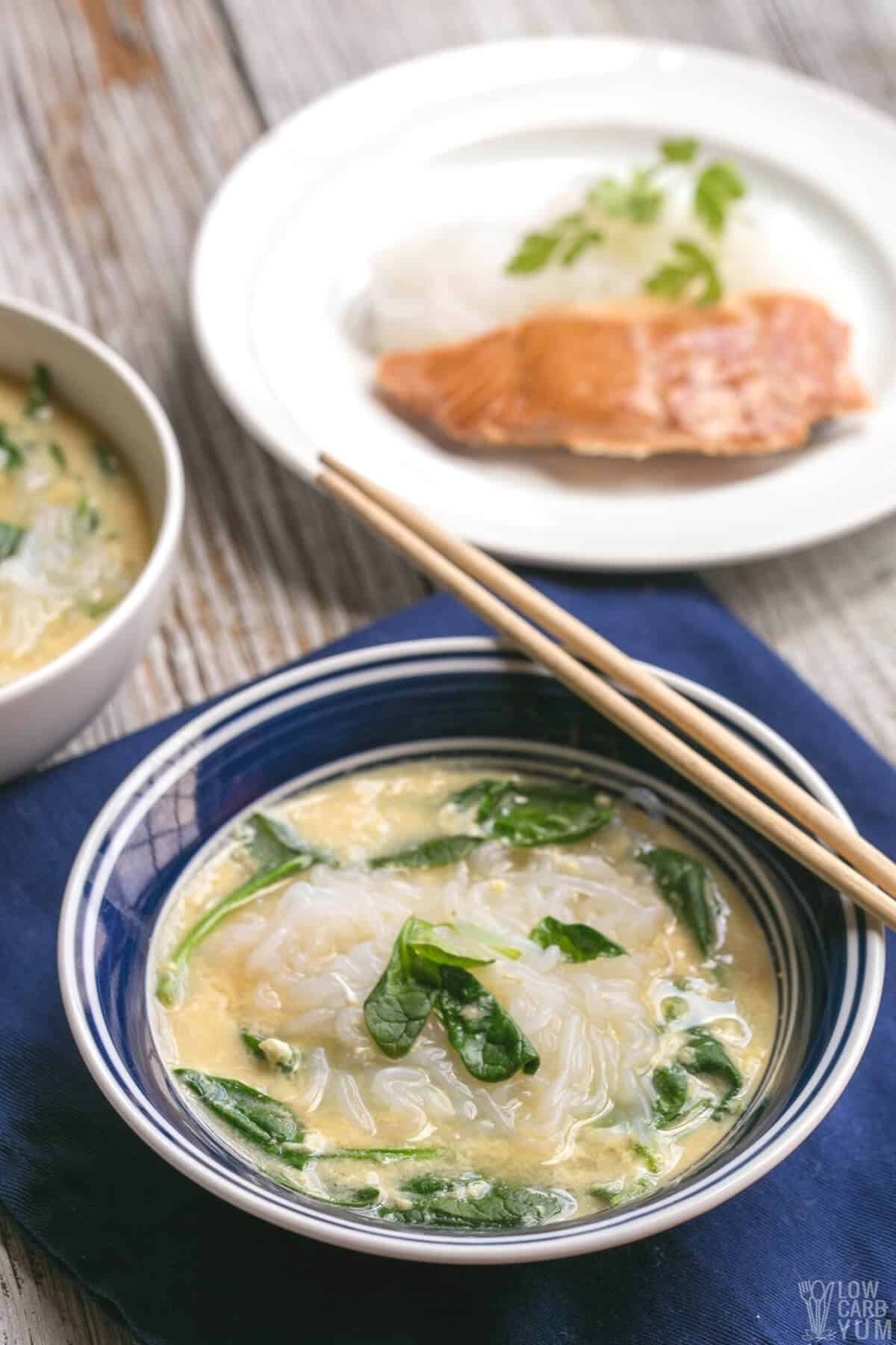 keto ramen noodle soup in bowl with chopsticks