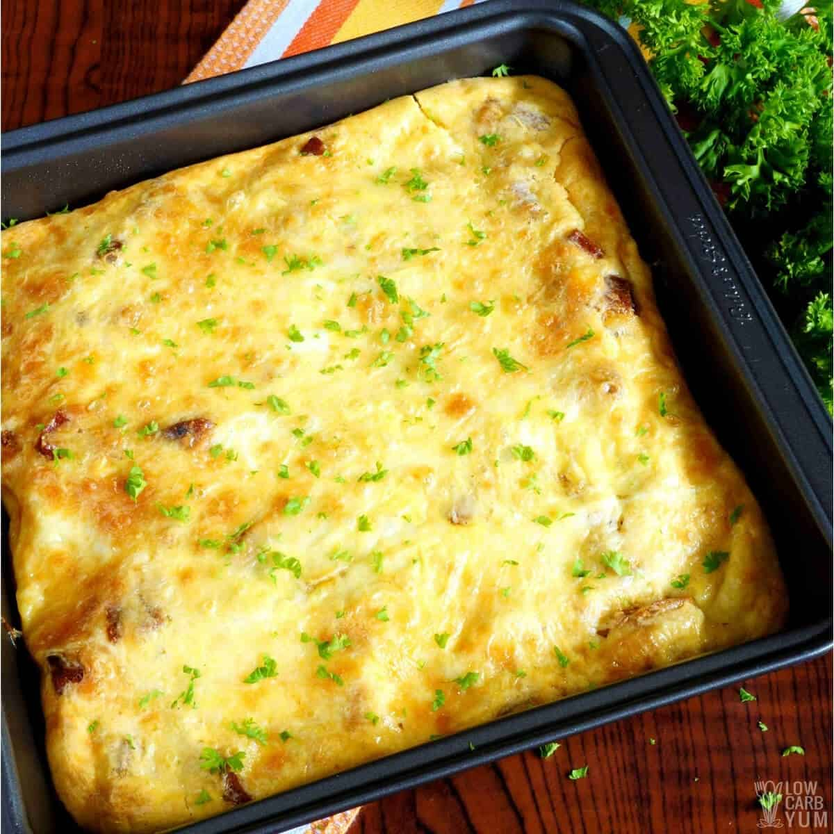 baked egg casserole in pan