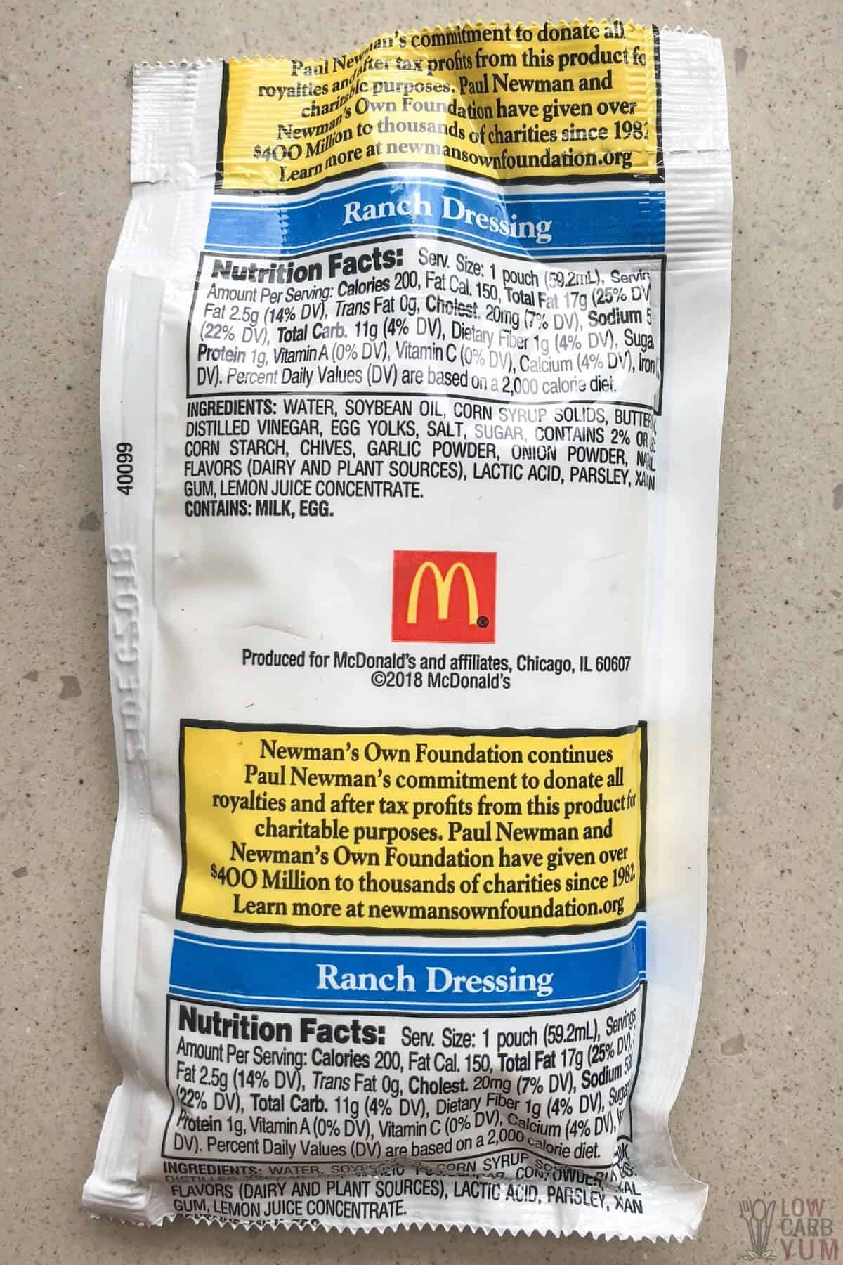 mcdonalds ranch dressing packet label