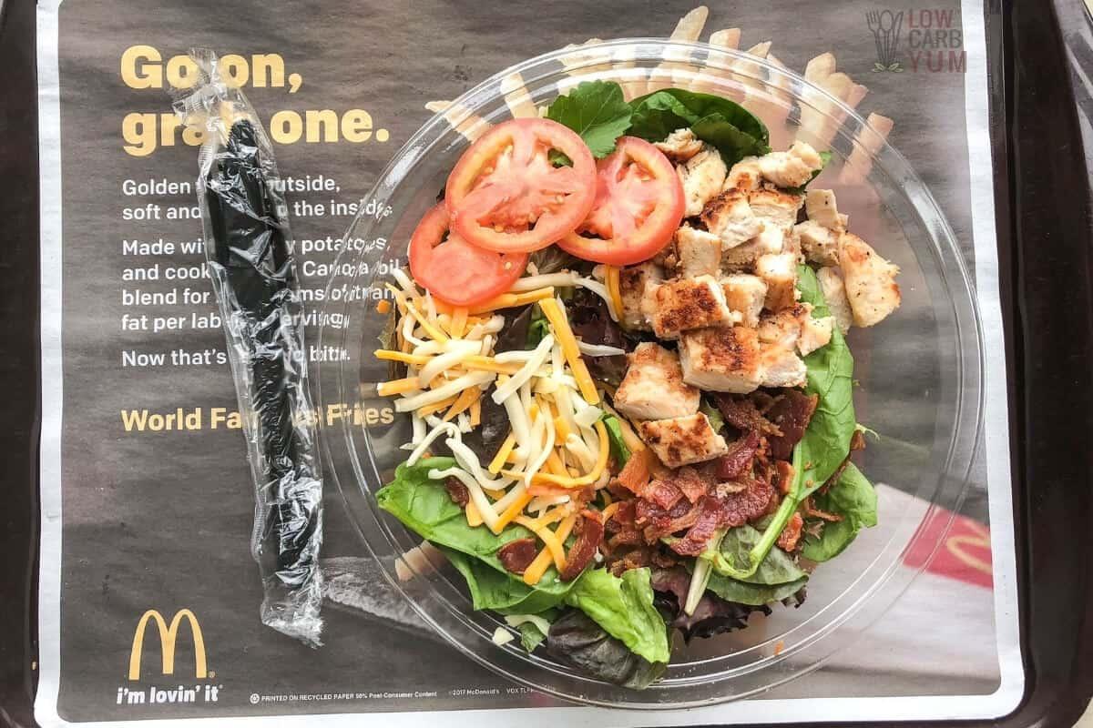 mcdonalds chicken salad on tray