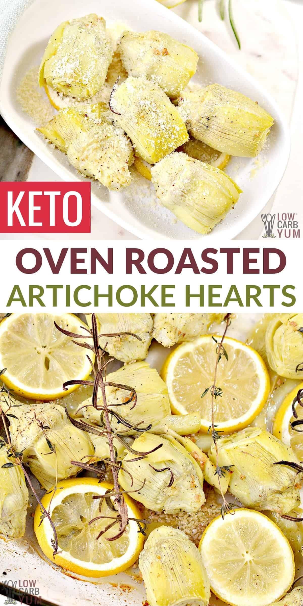 oven roasted artichoke hearts pinterest image