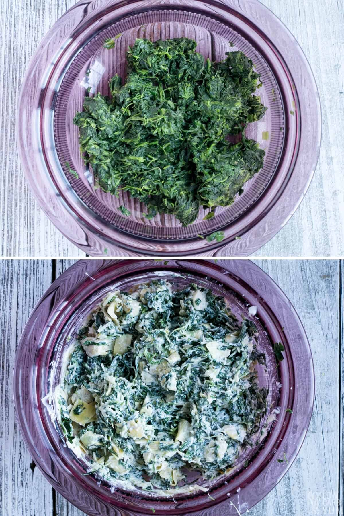 preparing spinach artichoke filling