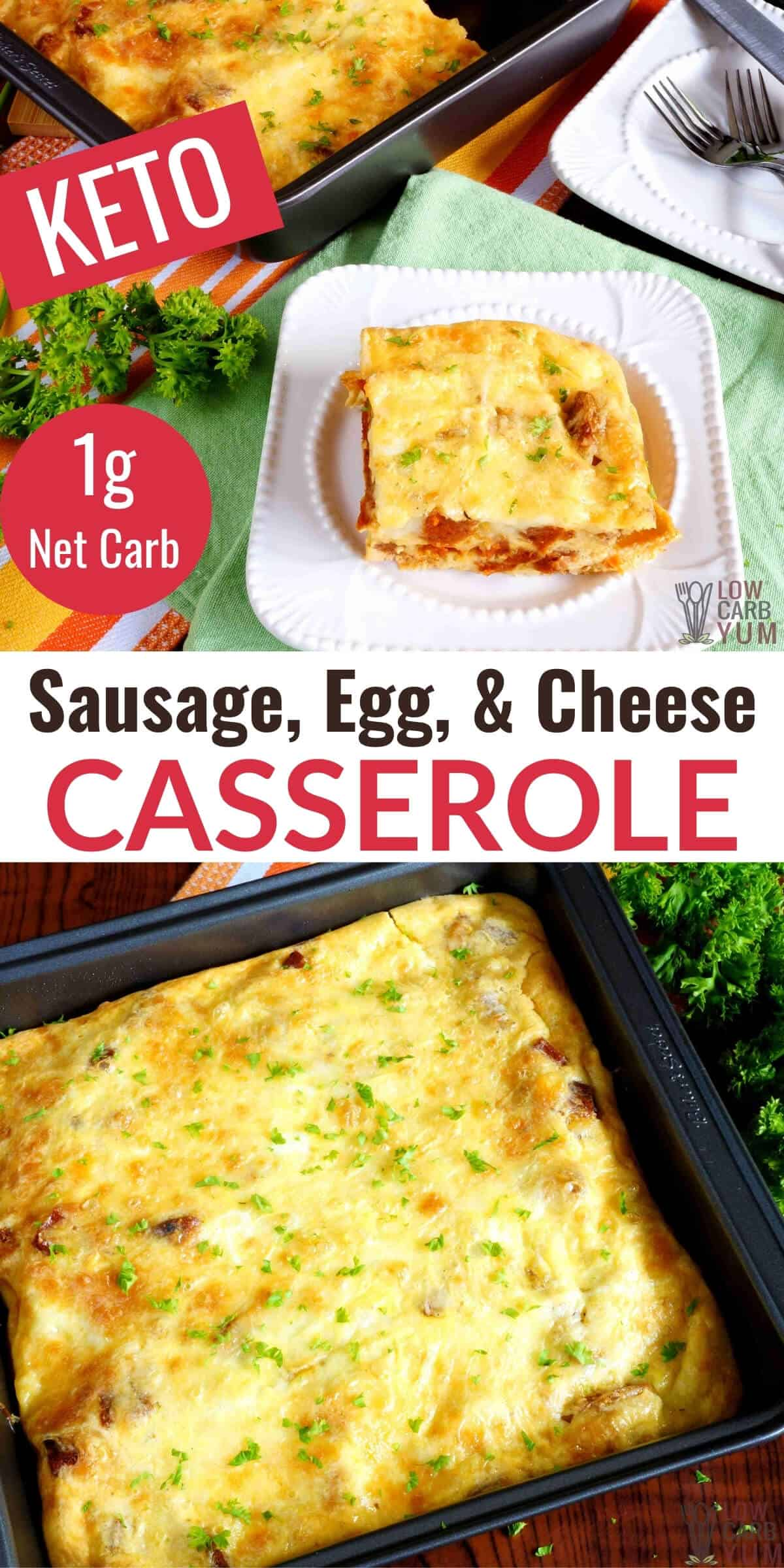 sausage egg cheese casserole pinterest image