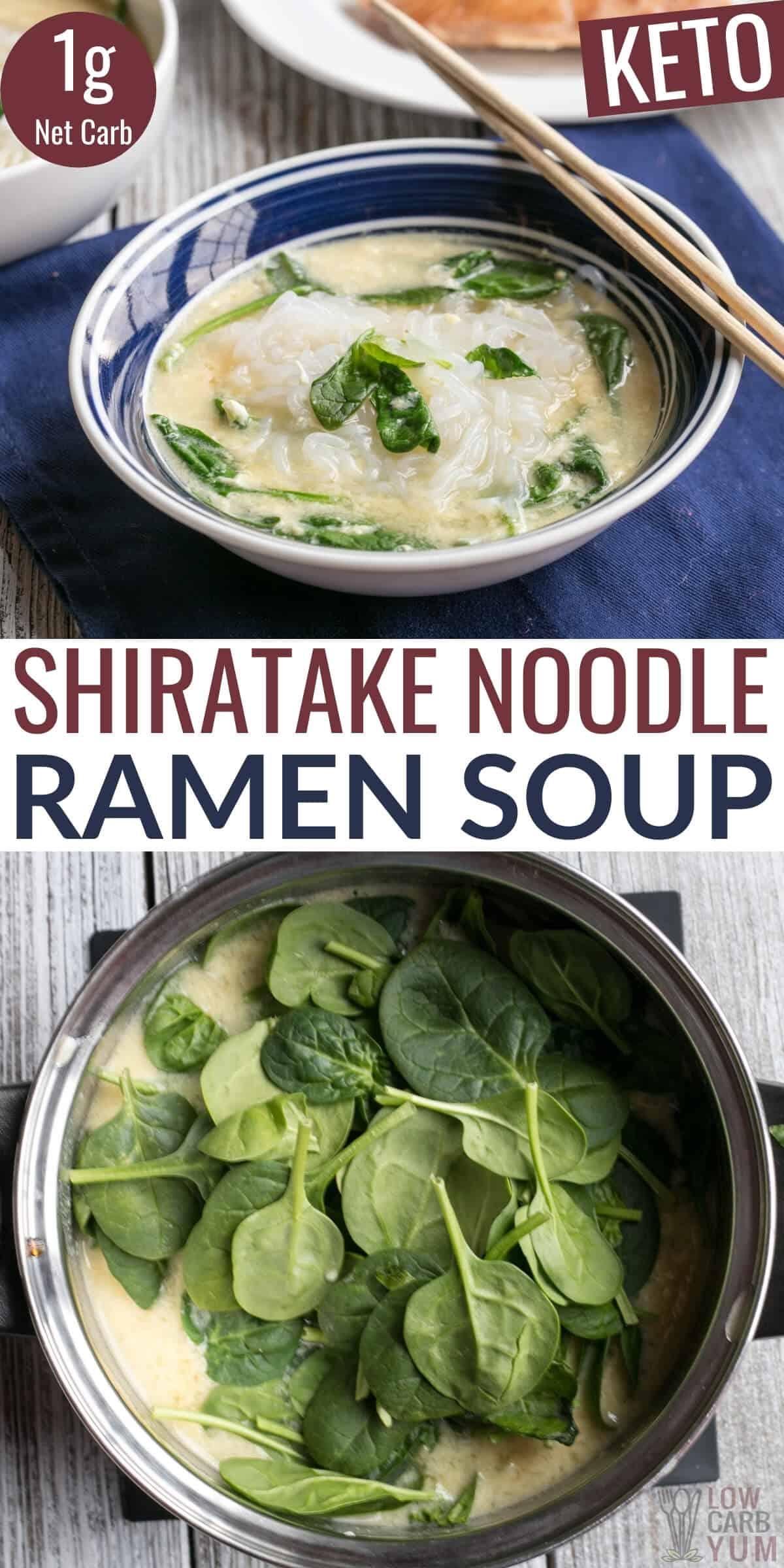 shiratake noodle ramen soup pinterest image