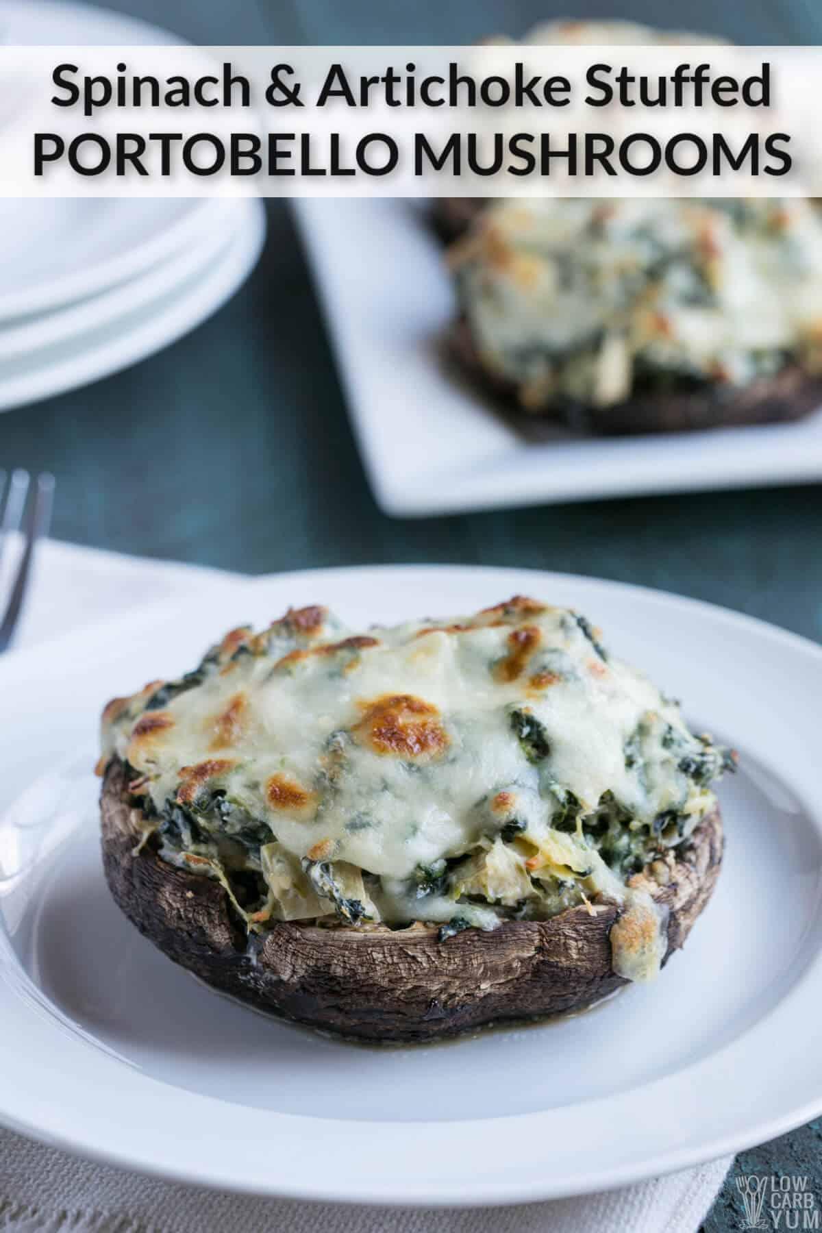 spinach artichoke stuffed portobello mushrooms cover image