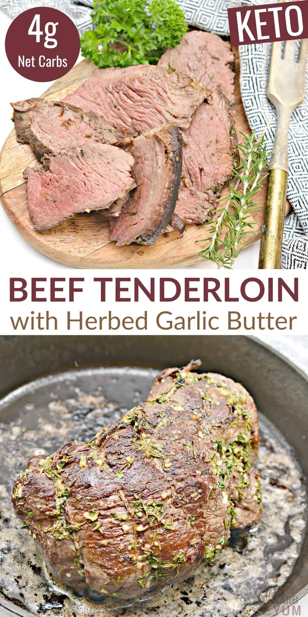 beef tenderloin with herbed garlic butter pinterest image