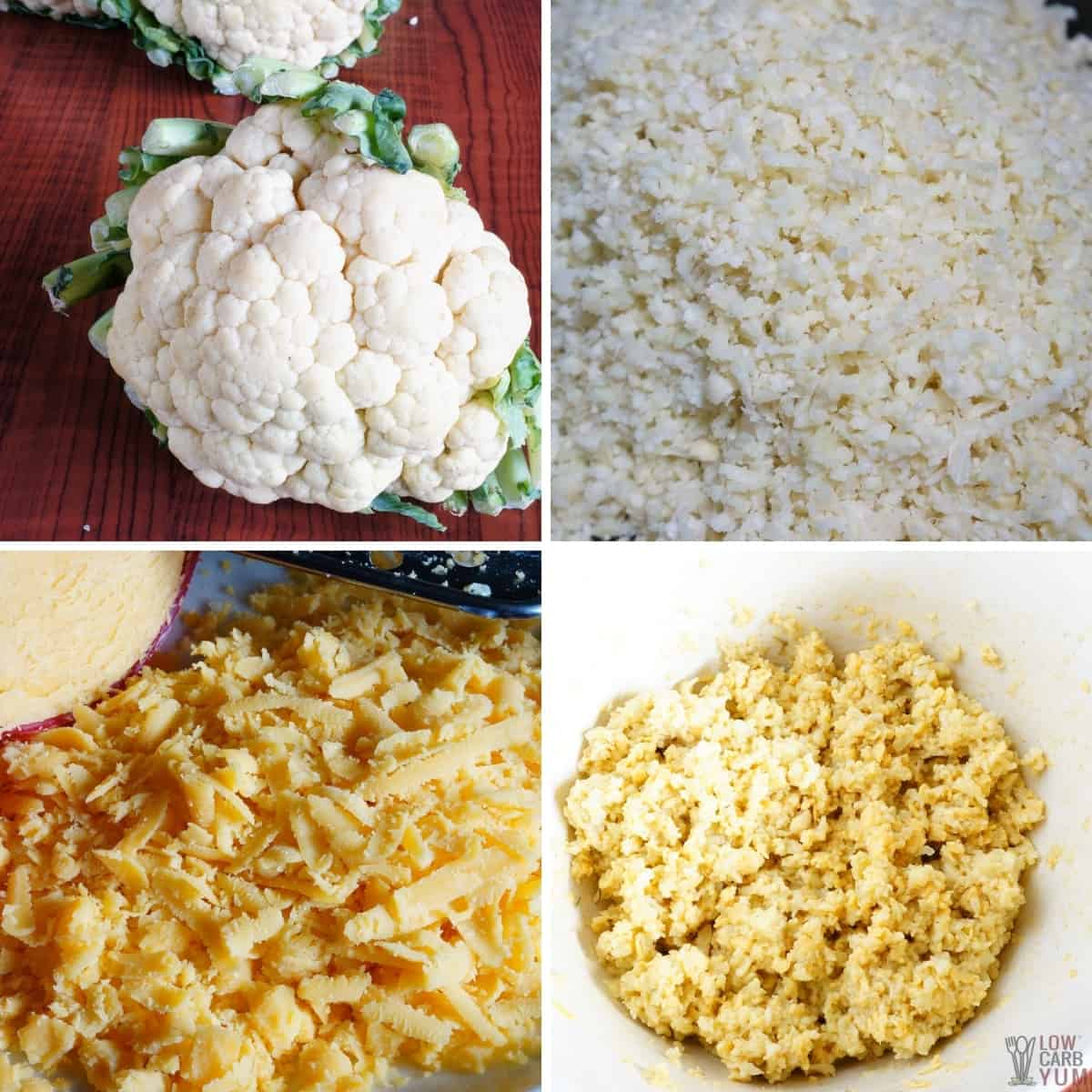 riced cauliflower and grated cheese