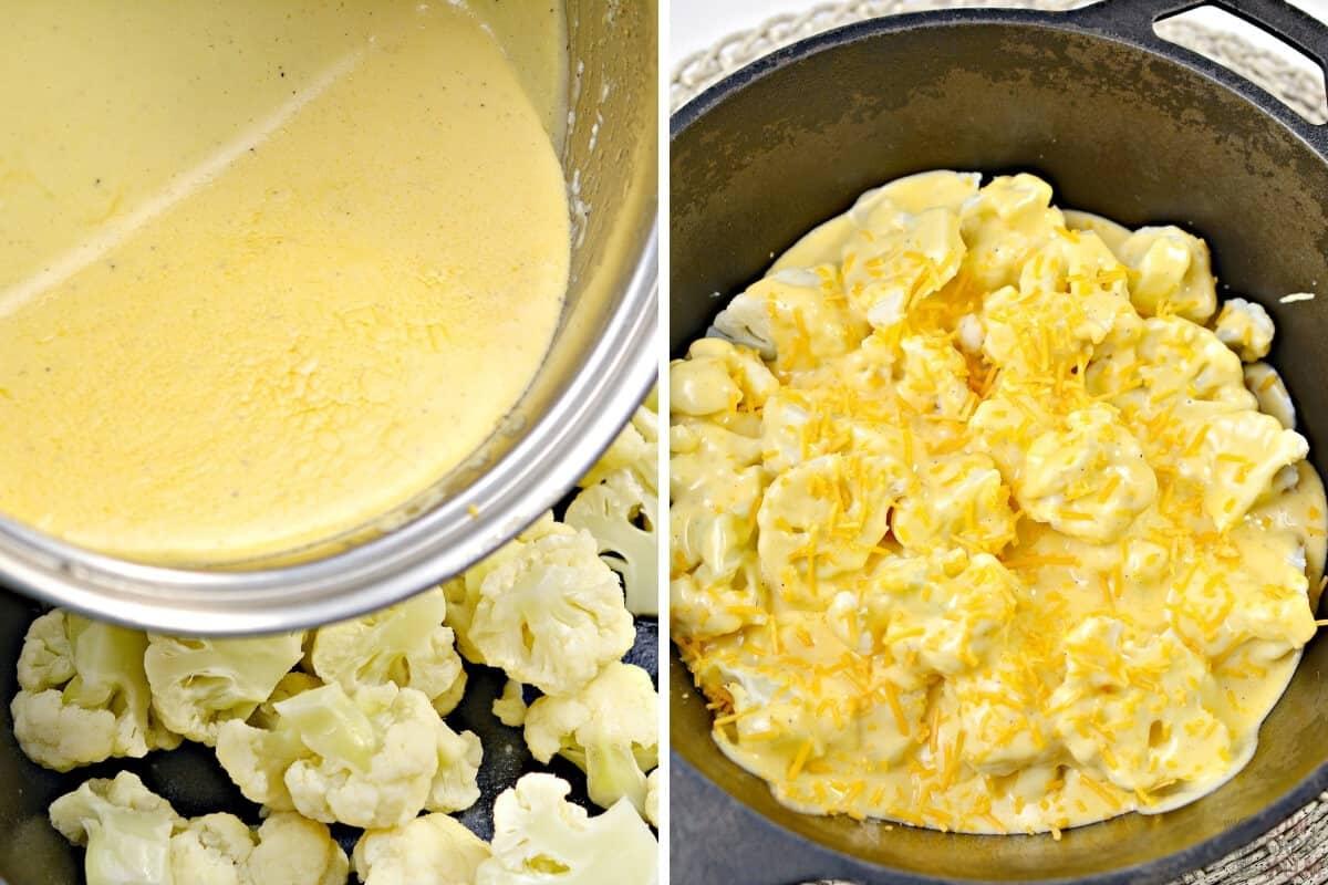 preparing cauliflower and cheese