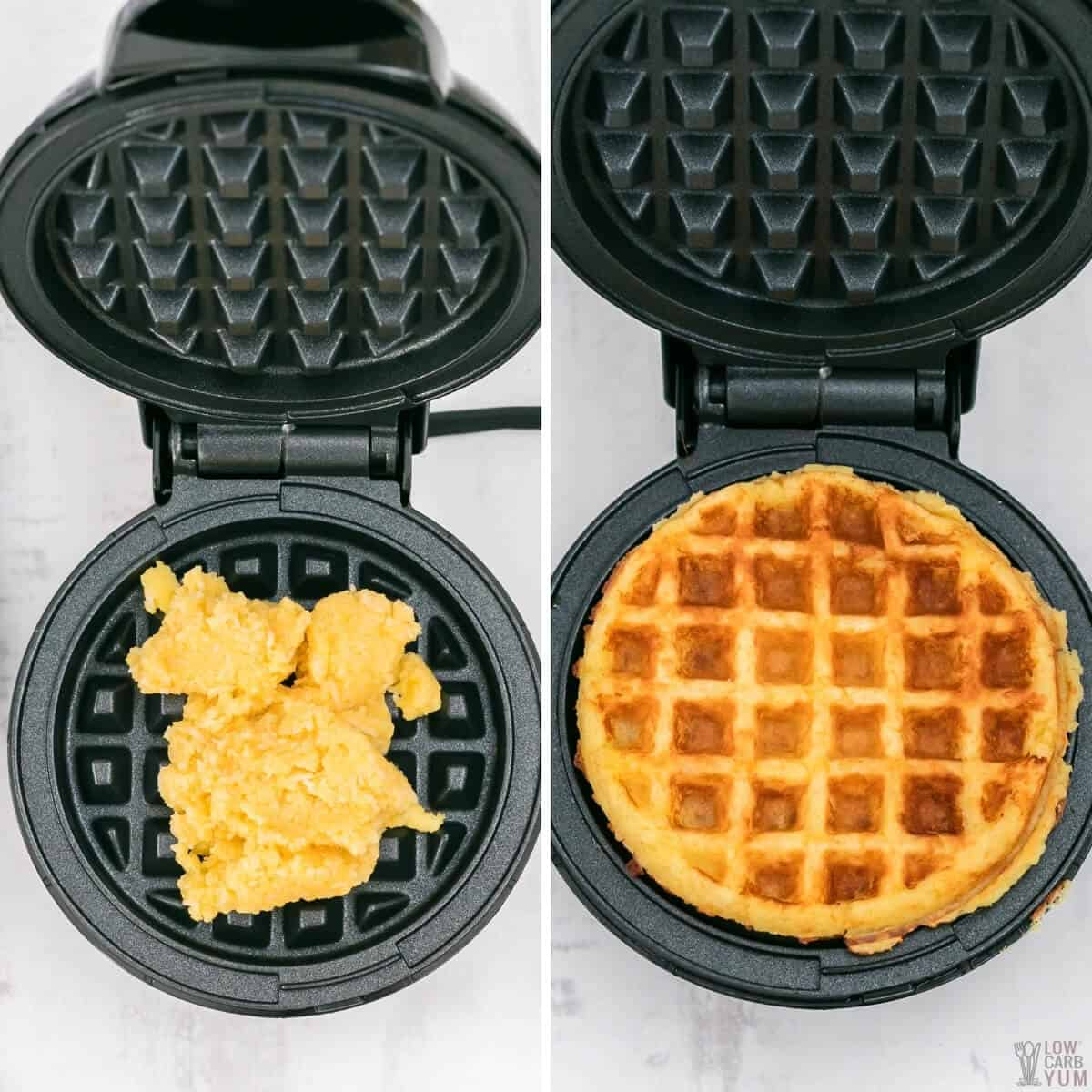 cooking batter in mini waffle maker