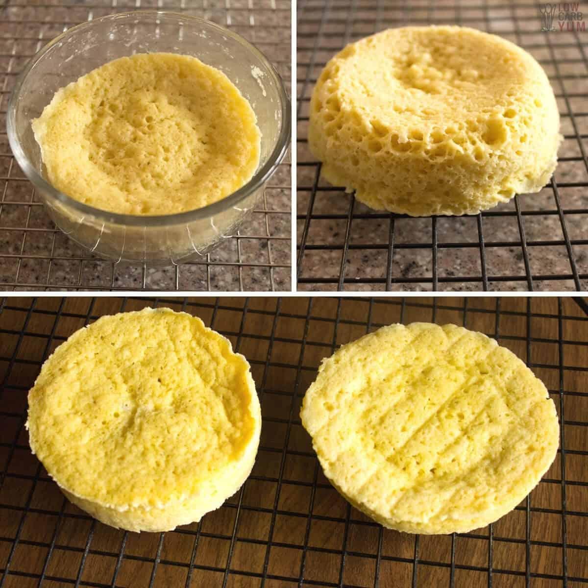 cooling the keto mug cakes