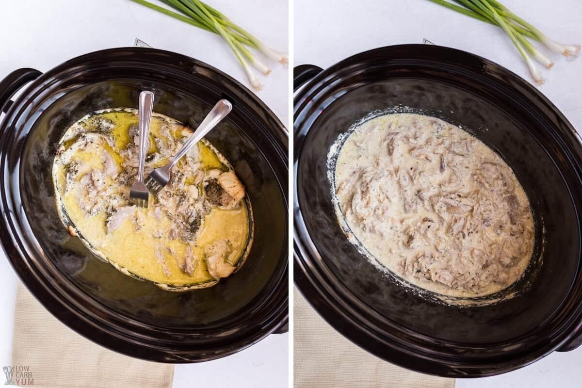shredding chicken in crock pot