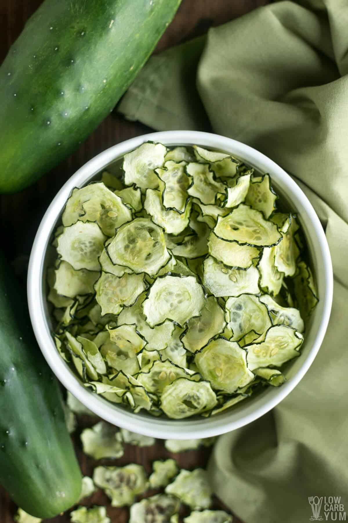 overhead of salt and vinegar cucumber chips in bowl