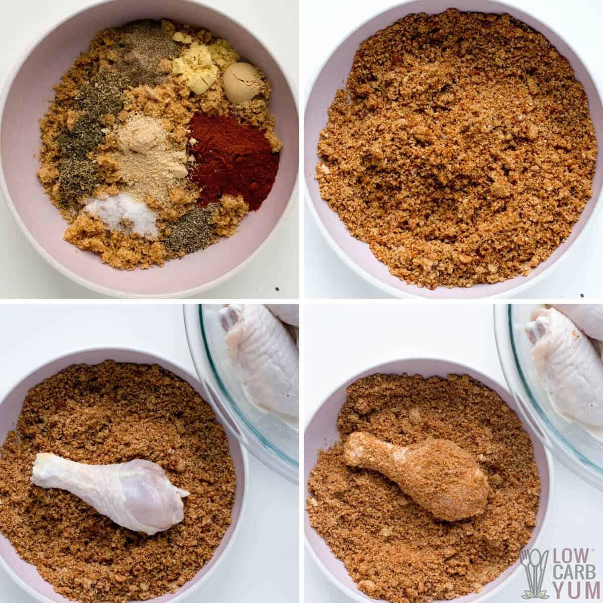 Dipping chicken in keto fried chicken pork rind coating