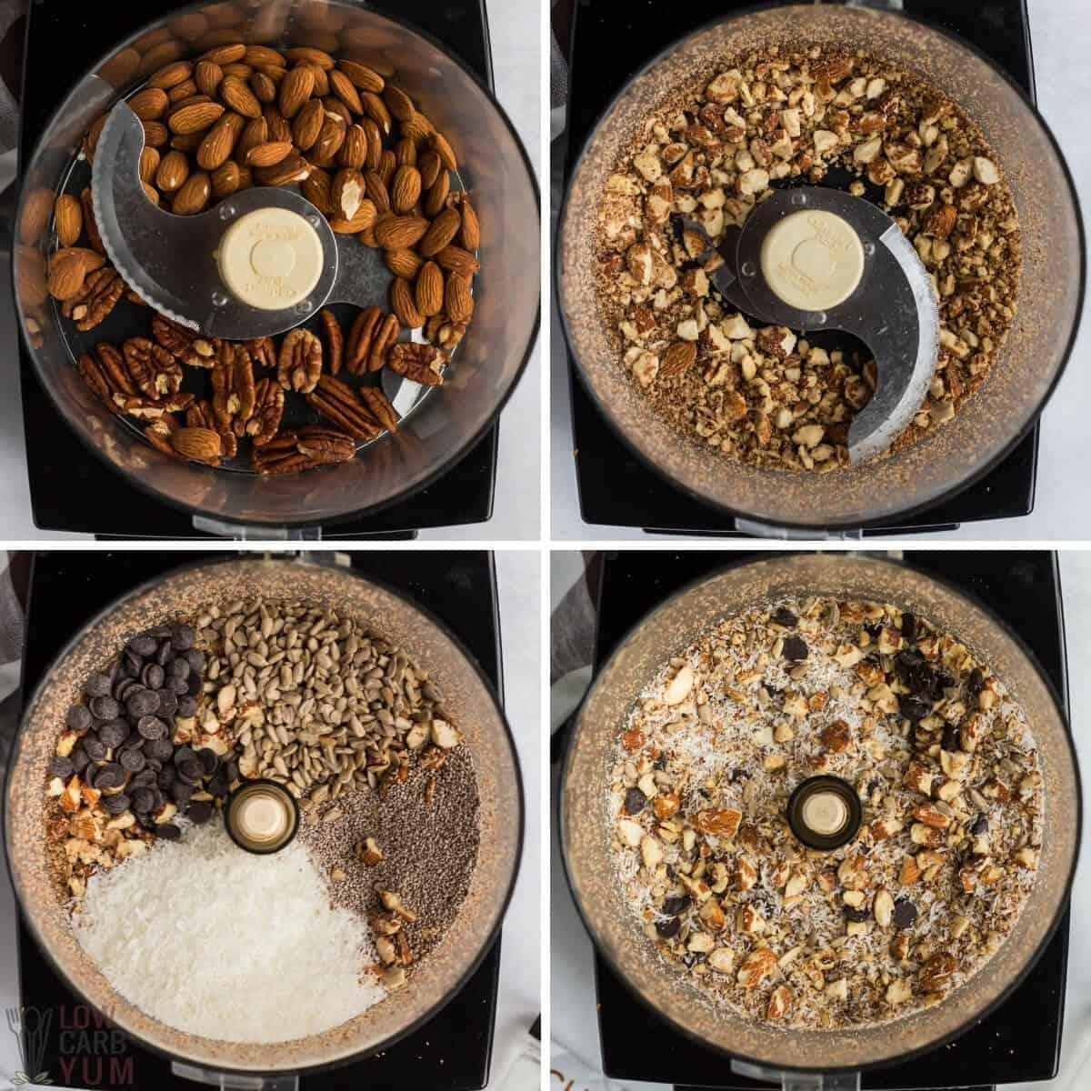 granola bar mixture in food processor
