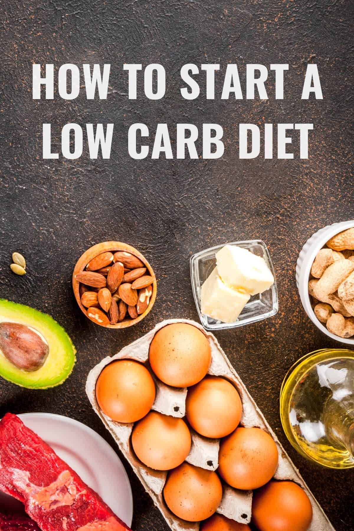 how to start a low carb diet pinterest image