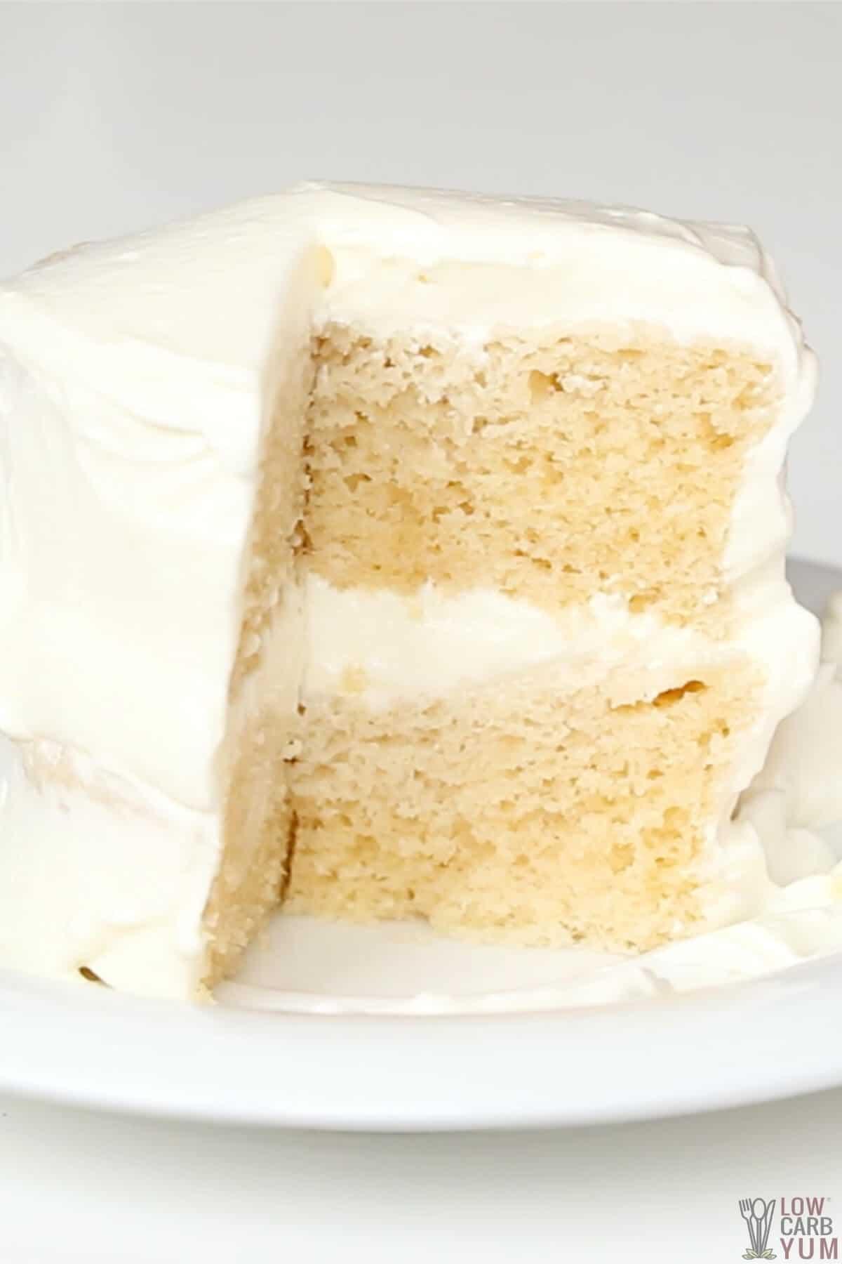 tall image showing inside of cut layered mug cake