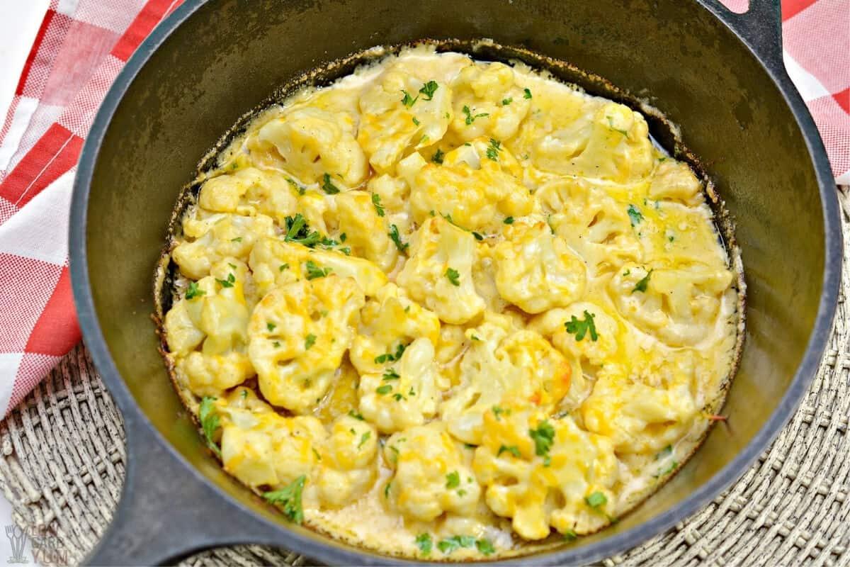 keto cauliflower cheese in cast iron pan