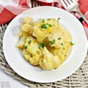 keto cauliflower mac and cheese on white plate