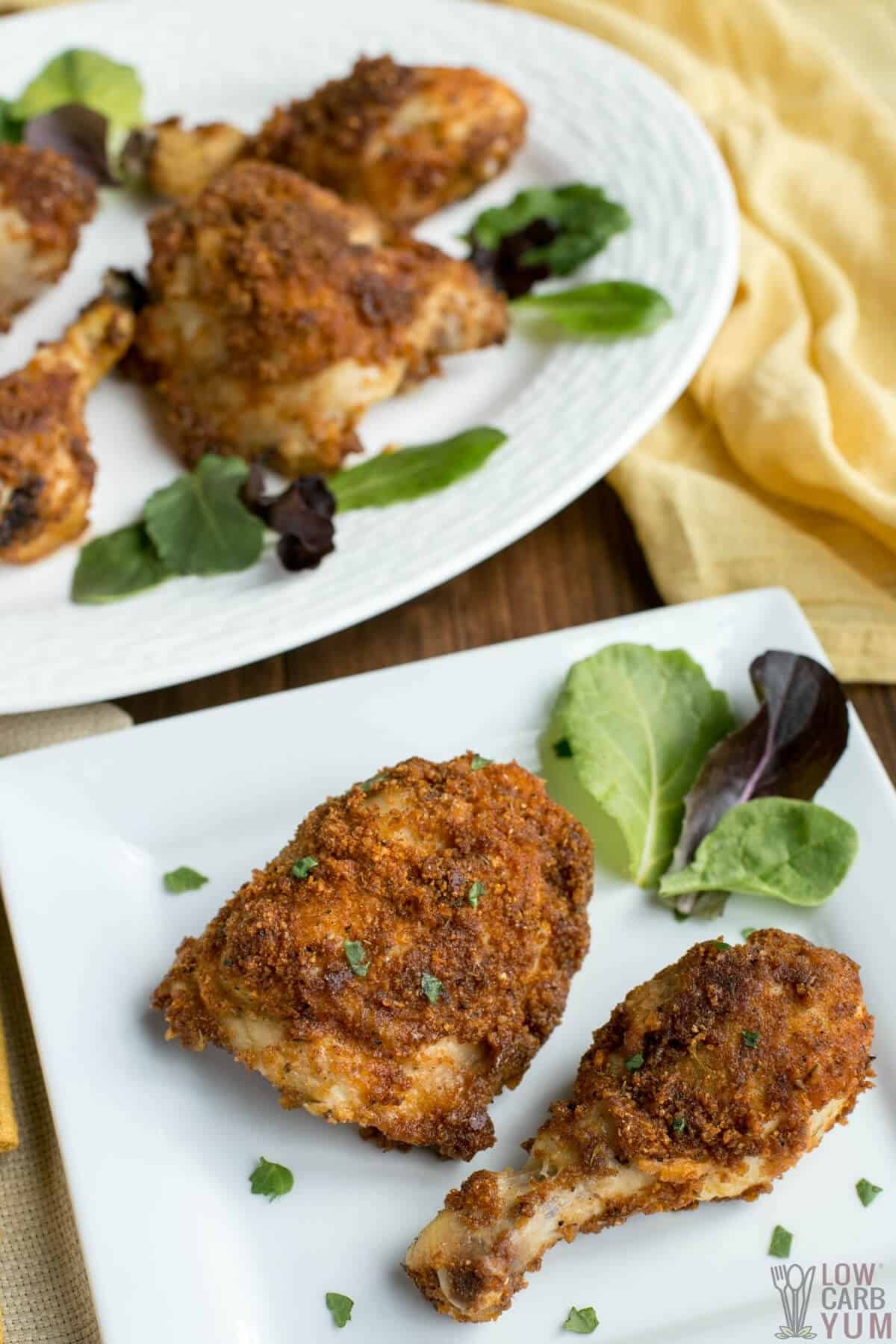 keto fried chicken made in air fryer or oven with pork rind coating