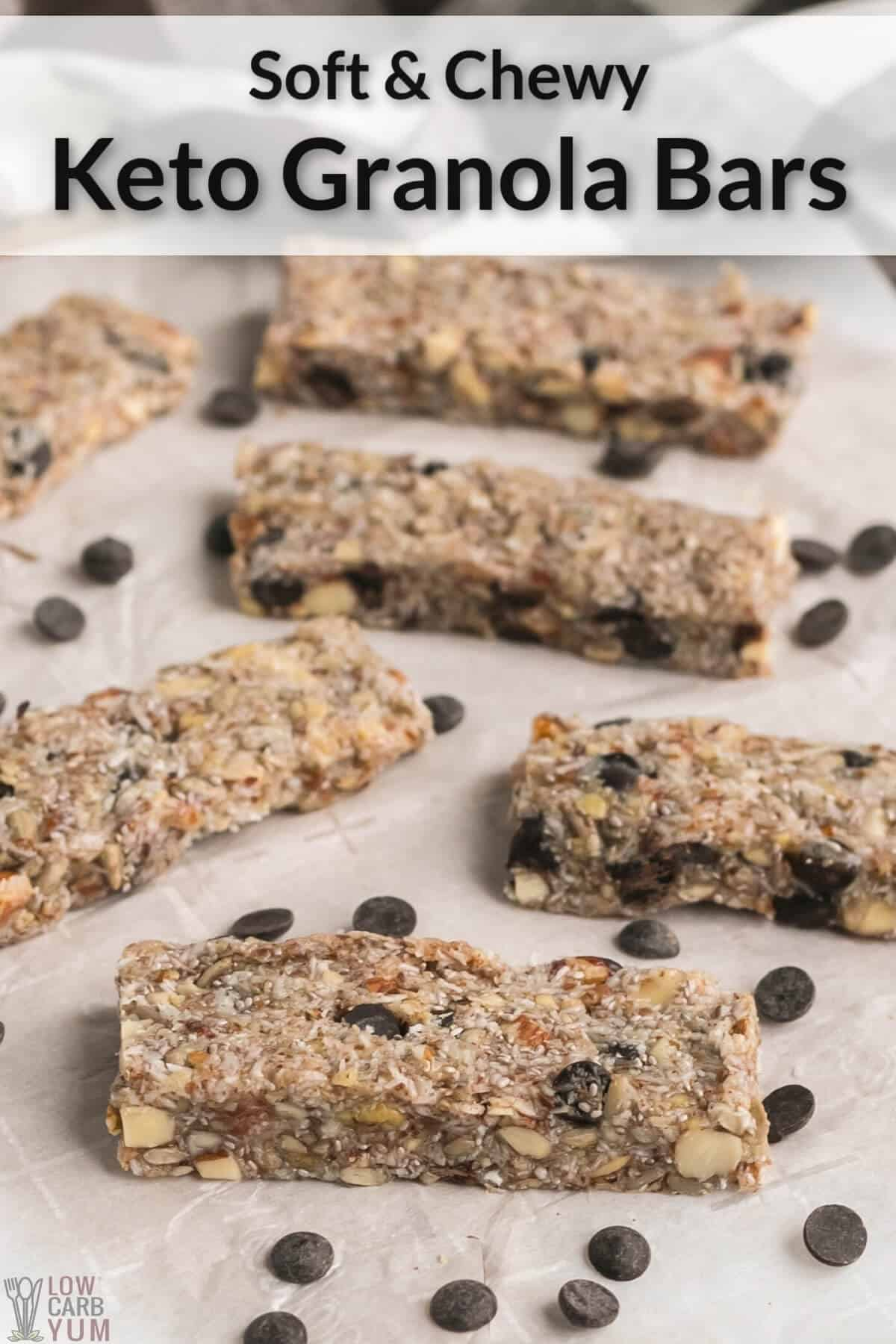 keto granola bars on parchment paper
