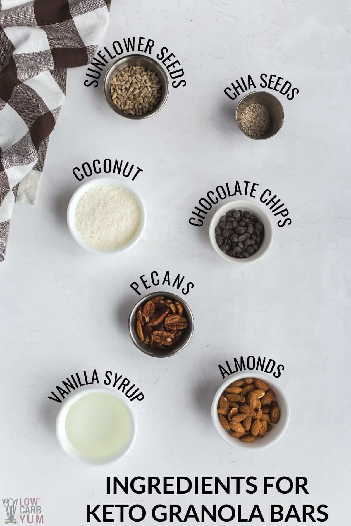 ingredients for keto granola bars recipe
