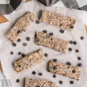 overhead shot of keto granola bars on parchment paper