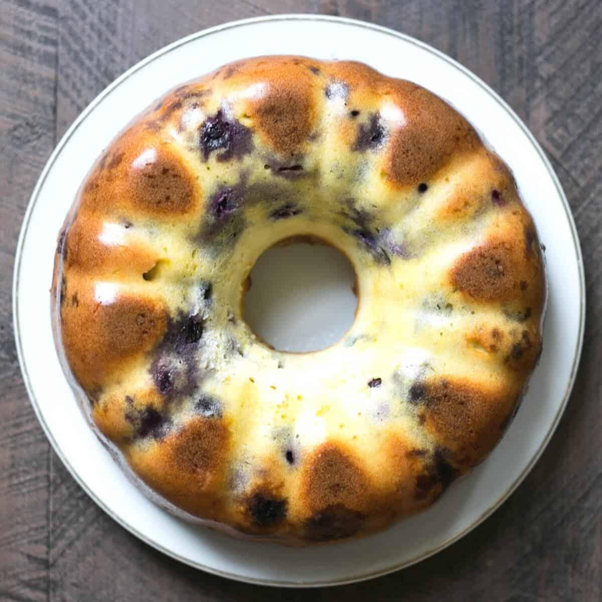 lemon blueberry pound cake baked