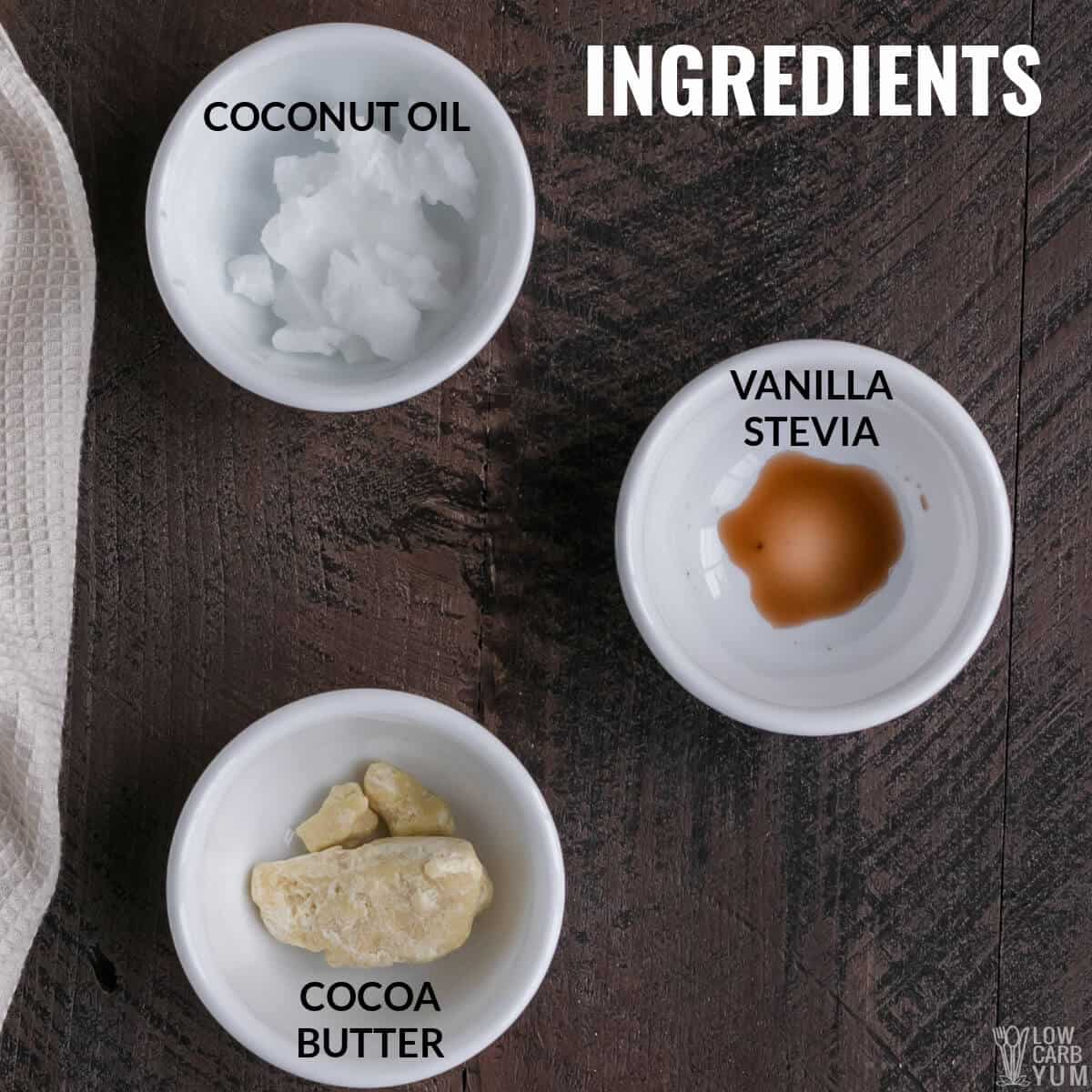 ingredients for keto white chocolate fat bombs