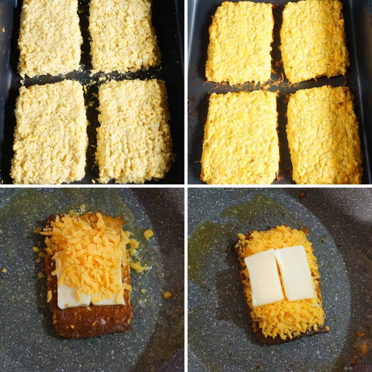 making the grilled cheese sandwich with cauliflower bread