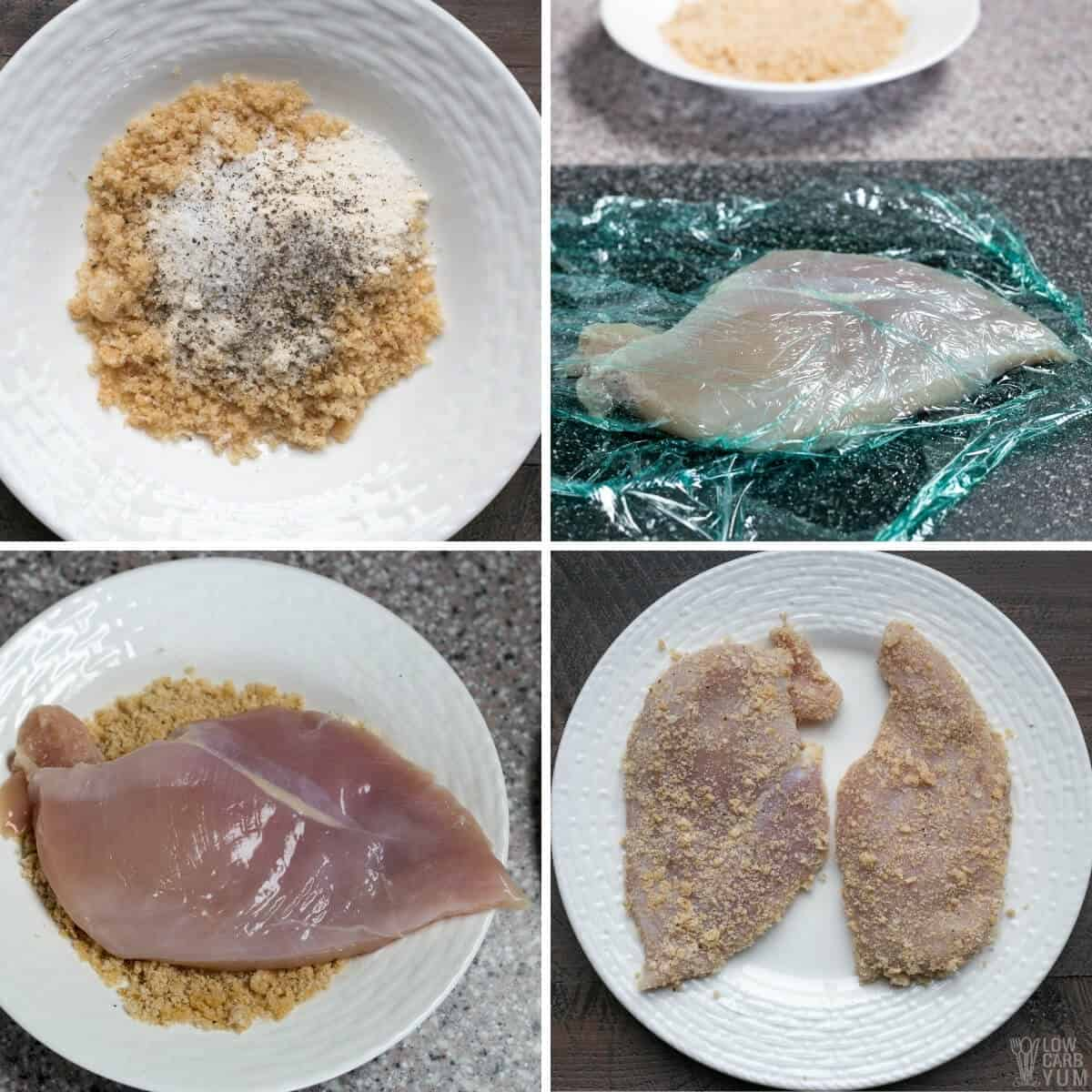 prepping the keto breaded chicken