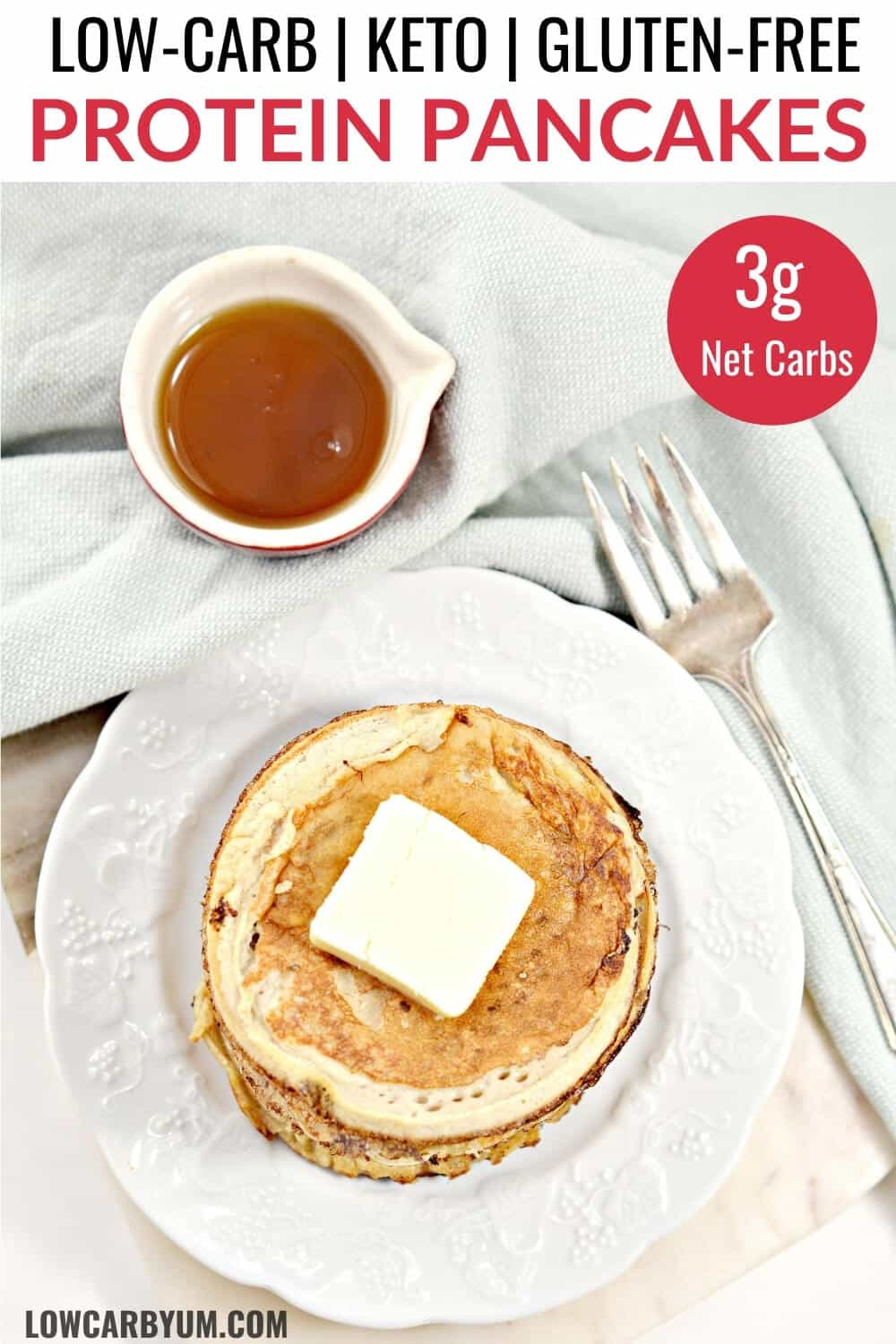 low carb protein pancakes pinterest image