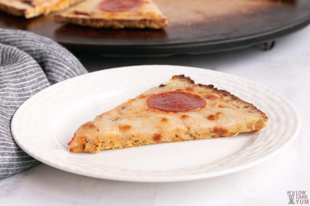 closeup of coconut flour pizza crust slice