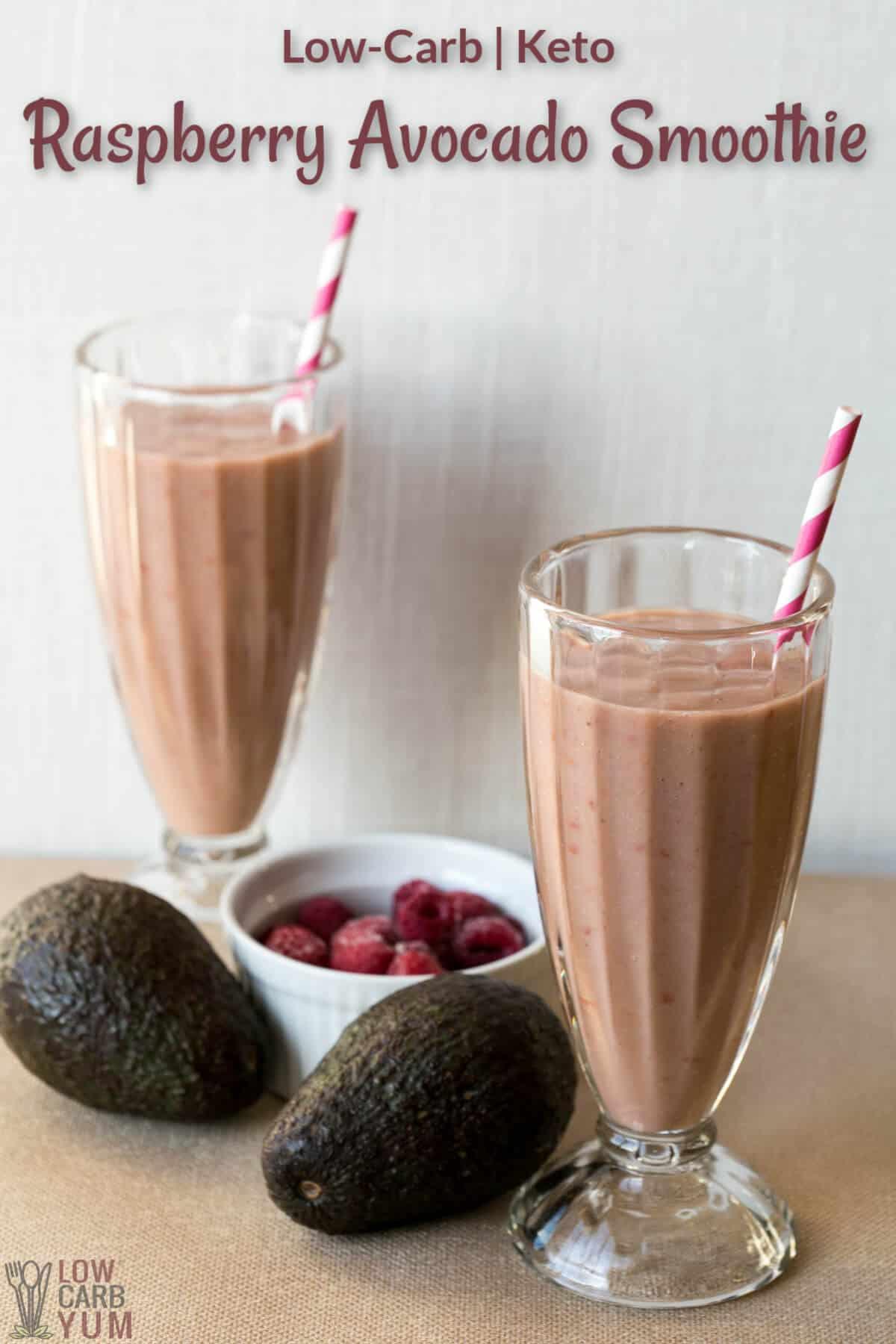 keto raspberry avocado smoothie recipe cover image