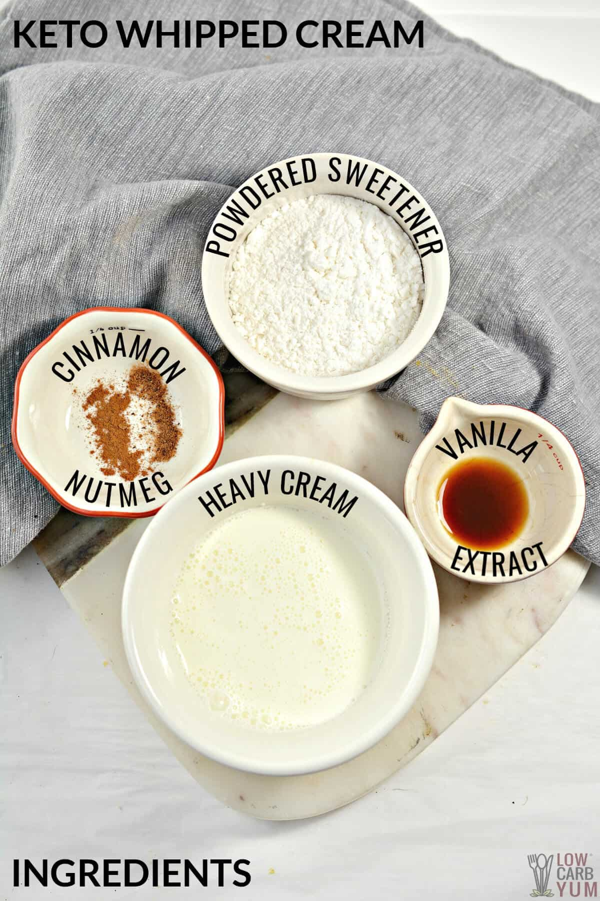 whipped cream ingredients in bowls