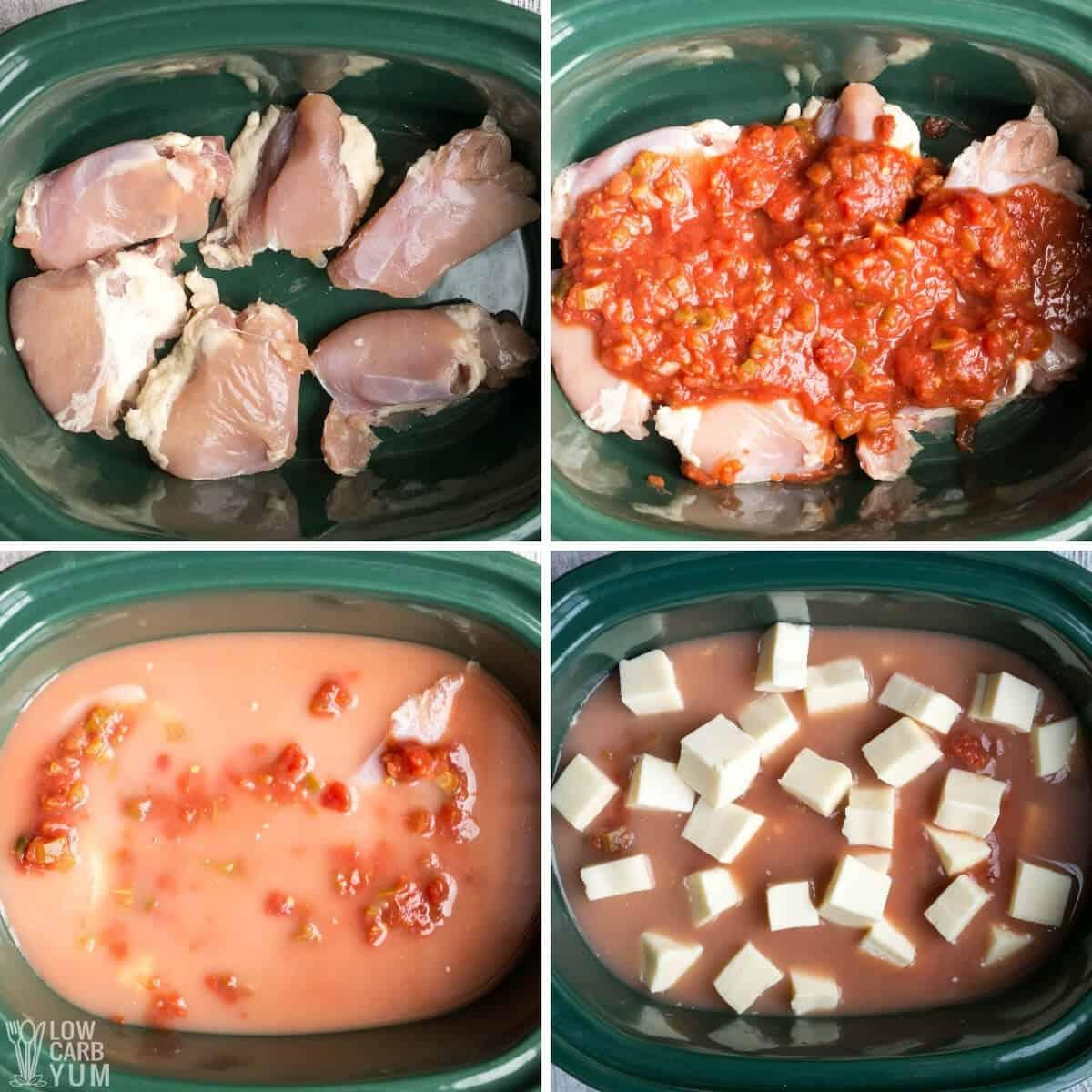 adding ingredients into crock pot