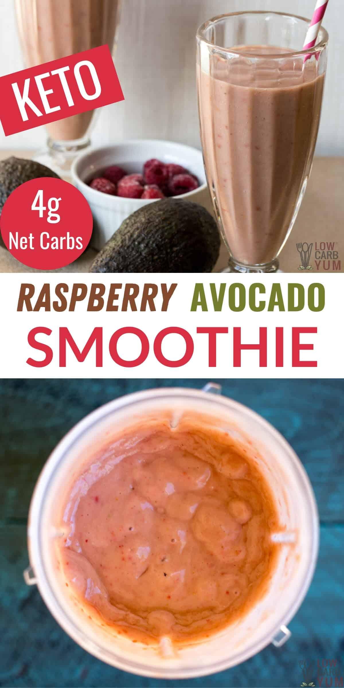 raspberry avocado smoothie pinterest image