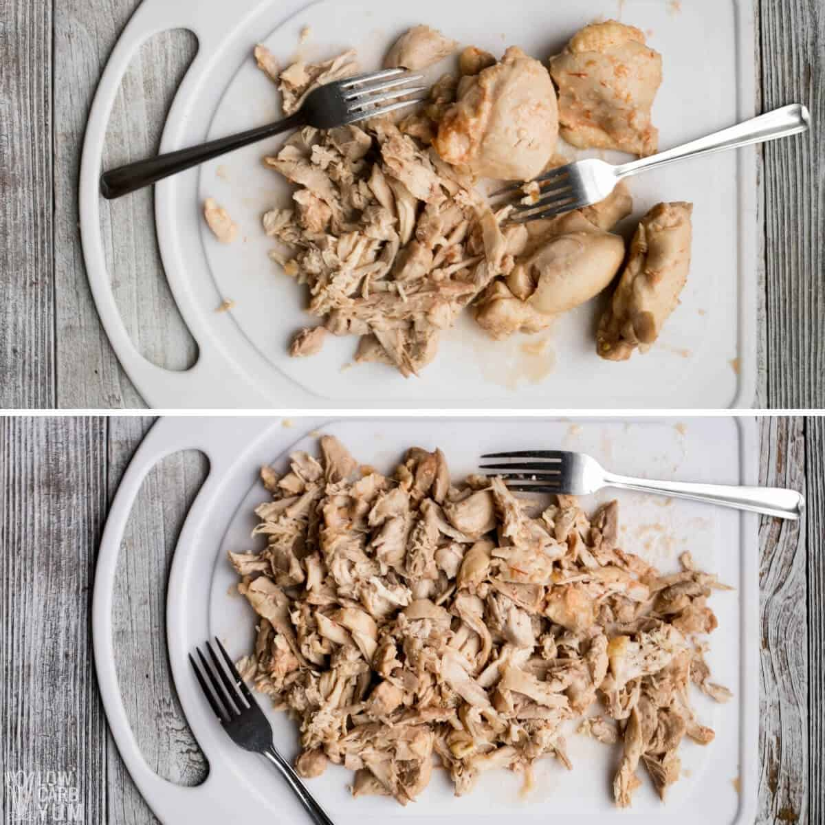 shredding the cooked chicken