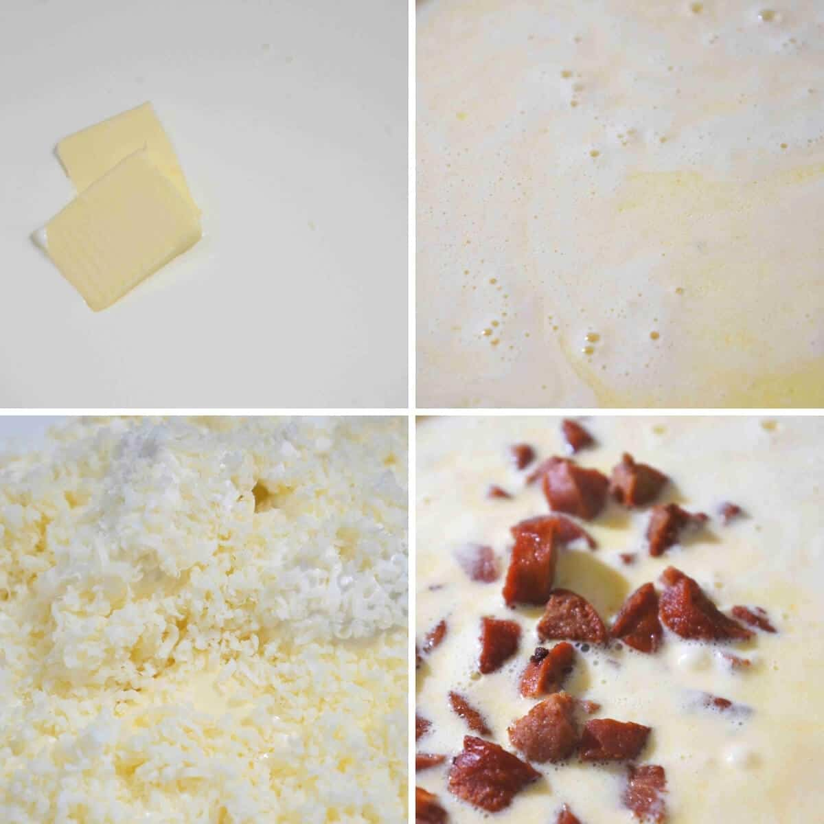 initial steps to make cauliflower cheese soup