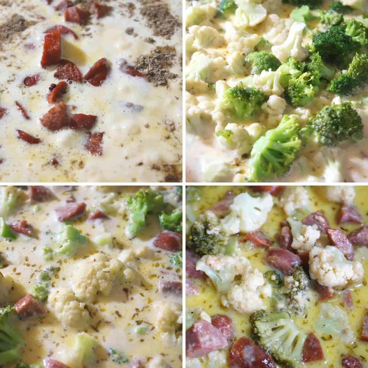 final steps to make cauliflower cheese soup