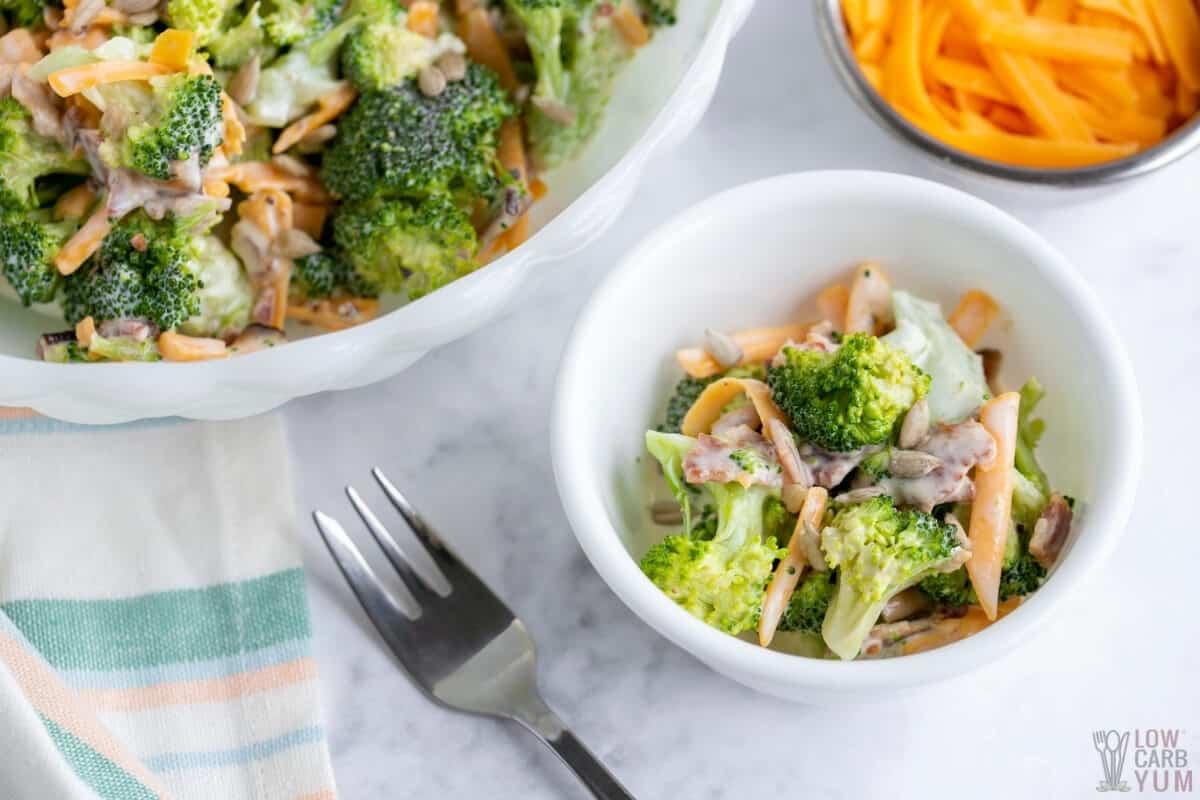 serving keto broccoli salad