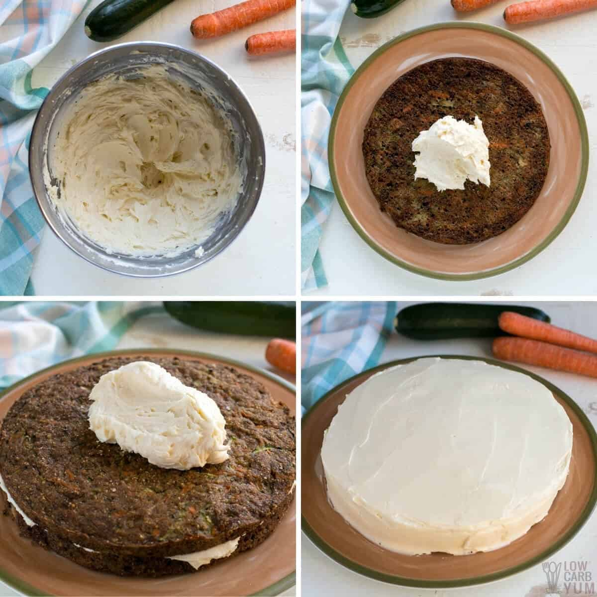 adding keto cream cheese frosting to carrot cake