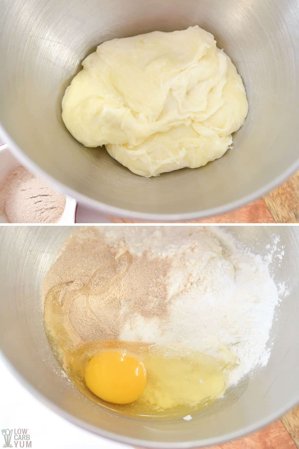croissant dough ingredients in mixing bowl