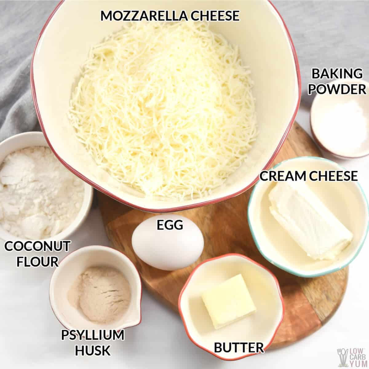 ingredients for the keto croissant recipe